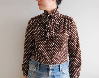 vintage bowtie top ruffle collar blouse peter pan collar secretary animal print vintage style button down shirt long sleeves ruffle collar