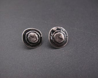 Reticulated and Oxidized Free Form  Post Earrings- Raw Sterling silver - Industrial- Modern Design