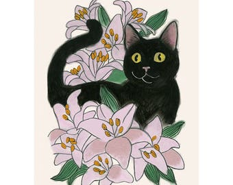"Cat Art Print - Cat print -  Wow Cat  - 8.3"" X 11.7"" print - 4 for 3 sale"