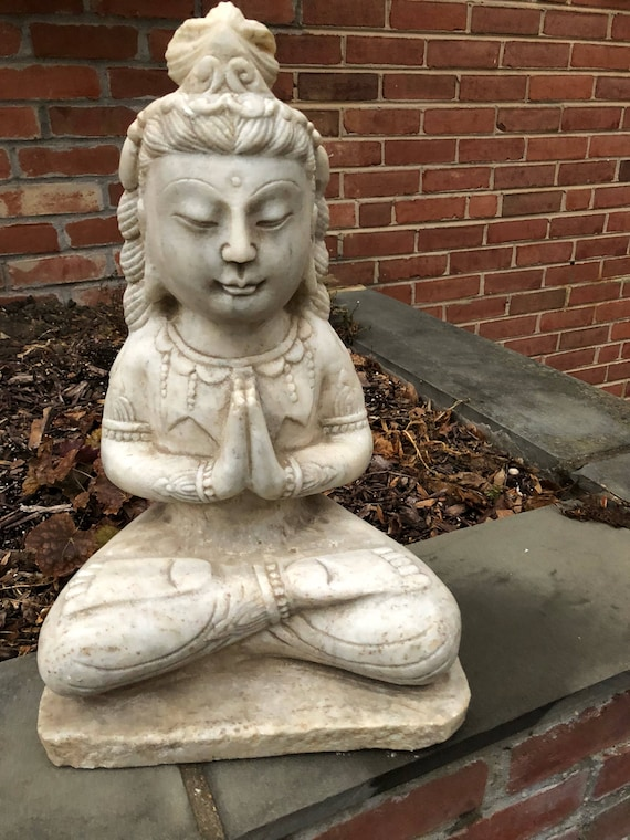 Antique Chinese Carved Marble Guanyin (Guan Yin) Stone Sculpture