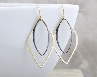 Black And Gold Earrings Marquise Drop Earrings Elegant Dangle Earrings Geometric Jewelry Gold Modern Earrings Gift For Her