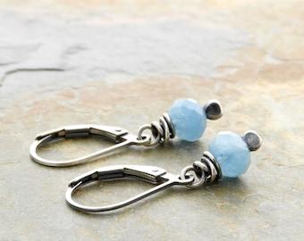 Aquamarine Earrings - Sterling Silver - Petite Aquamarine Dangles - March Birthstone Earrings - March Birthday Gift - Leverback #4907
