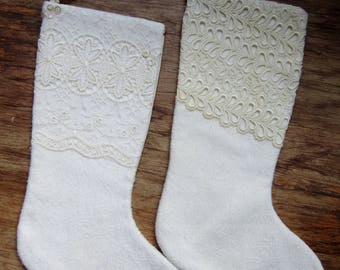 "Christmas Stockings 18"" Fully Lined VINTAGE TEXTILES Upcycled Linens Lace"