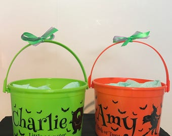 Personalised Trick or Treat Bucket, Tree, Witch, Monster, Skeleton