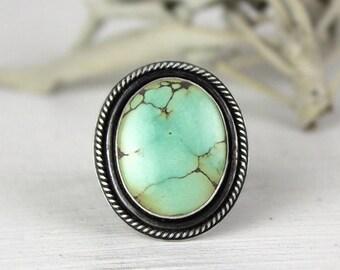 Blue Turquoise Ring, Boho Ring, Statement Ring, Big Ring, Treasure Mountain Turquoise, Size 7, Ready to Ship