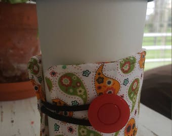 Wrap Around Coffee Sleeve - Red, Green and Gold Paisley