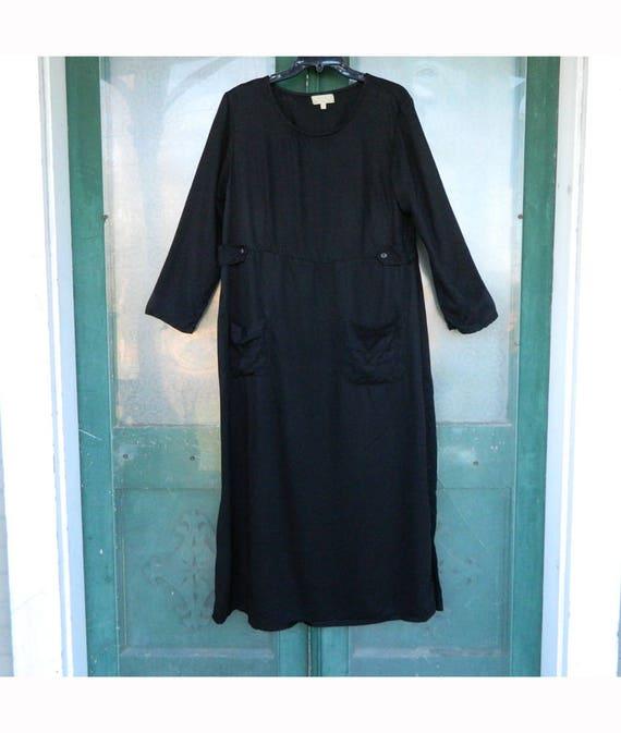 J. Jill Long-Sleeve Dress -1X- Black Tencel