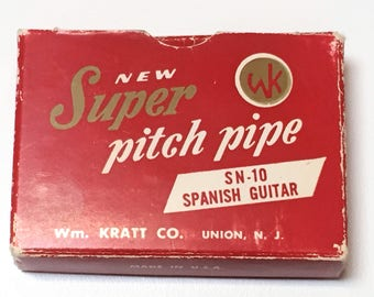 Vintage Super Pitch Pipe in Original Box, SN-10 Spanish Guitar Wm Kratt CO, Vintage Musician Collectible Gift