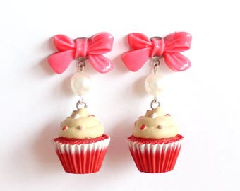 Red Velvet Cupcake Earrings with Bows, Bakeshop Collection, Kawaii Pink Cakes Earrings, Birthday Cake, Pinup Earrings, Rockabilly Jewelry