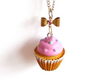 Pastel Pink Cupcake Necklace, Bakeshop Collection, Kitschy Birthday Cake Necklace Kawaii Jewelry Pinup Necklace, Rockabilly Necklace
