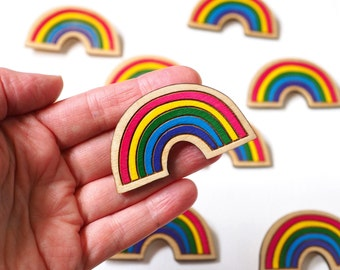 Rainbow Brooch, Hand Painted Wooden Brooch, Laser Cut Sustainable Birch Wood, Colourful Brooch, Made in Brighton, uk