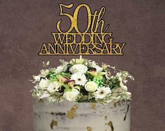 50th Wedding Anniversary Cake Topper ~ Wedding Anniversary Cake Topper ~ Wedding Anniversary ~ 50th Anniversary ~ Golden Anniversary