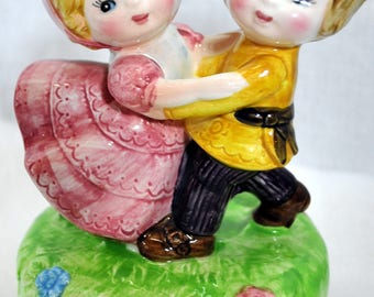 Vintage Wind-Up Music Box - Plays I Could Have Danced All Night - Boy and Girl Dancing
