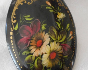 Painted Flower on Black Lacquer Paper Mache Signed Russian Costume Jewelry Brooch