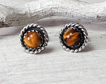Tigers Eye Post earrings Dainty Yellow Brown Sterling Silver Studs 6mm stone Silversmith