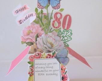 80th Birthday Pop Up Card - Card in a Box - Box Card - Milestone birthday