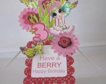 3rd Birthday Pop Up Card - Box Card - Card in a Box - Girl