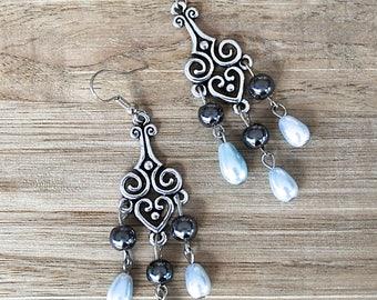 Large Silver Earrings Scroll Celtic Design Blue Pearl Teardrops & Hematite Chandelier Earrings Celtic Jewelry Long Shoulder Dusters