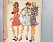 1970s Vintage Sewing Pattern Simplicity 8661 Misses Dress A Line with Ruched Sleeves and Gathered Bodice Size 8 Bust 31 1/2 Waist 24 70s