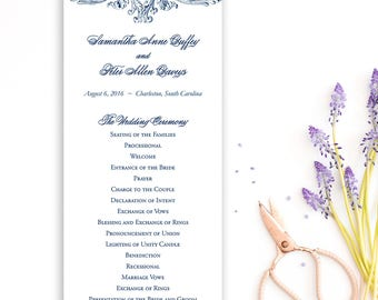 Romantic wedding program, Navy wedding program, double sided panel program {set of 50}