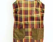 70s print Overall dress, retro Jumper, vintage jumper, plaid Jumper, Womens Romper, Jumper Dress