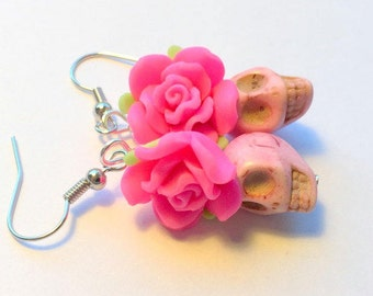 Pretty in Pink Day of the Dead Roses and Sugar Skull Earrings Small