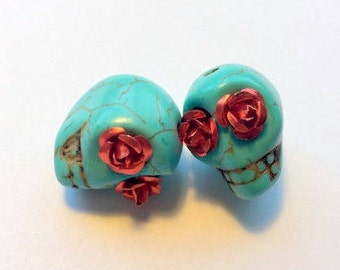 Sugar Skull Beads Turquoise with Red Rose Eyes 18mm Beads