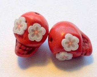 Sugar Skull Beads-12mm Red HowliteDay of the Dead Skull Beads with White Blossom Eyes