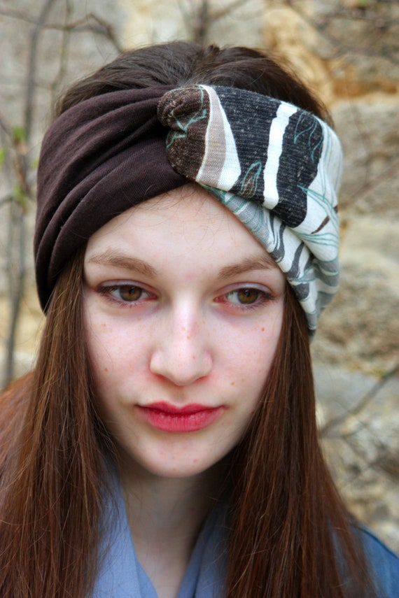 Headband-Turban headband style Retro bicolor Brown and gray white Brown foliage