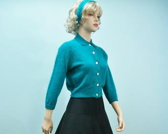 50s Angora Sweater . Vintage Turquoise Cardigan Sweater . Pin Up Fuzzy Cardigan . Rockabilly Sweater . S M