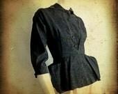 sale --- Vintage 1940s Black Rayon Suit Jacket (xs)