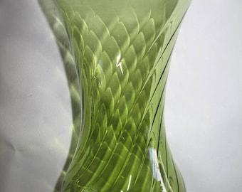 Vintage Green Clear Glass Vase