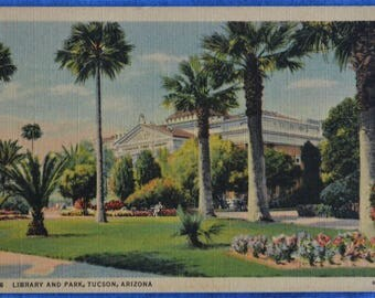 Library and Park Tucson Arizona Linen Postcard