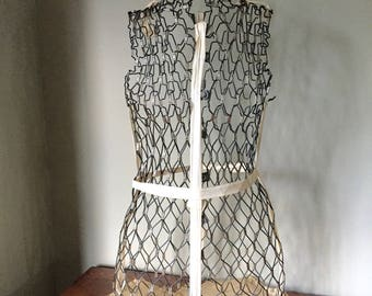 Vintage dress form dress form my double 1920s adjustable  metal mesh with twill tape adjustable skinny or slim