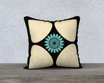 Throw Pillow Cover Big Abstract Teardrop Petal and Turquoise Sunflower Centre Graphic