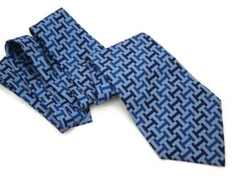 Hermes Tie - French Silk Blue H Pattern Mens Necktie Genuine Vintage Designer