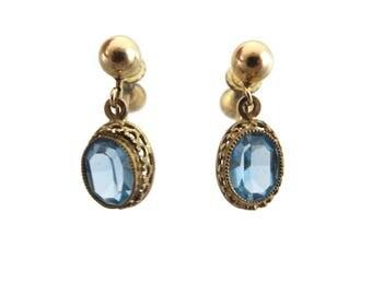 Pale Blue Earrings - 12k Gold Fill Glass Dangles 1950s Costume Jewelry Screw Backs