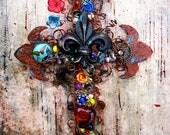 Wall Crosses For Cross Wall Decor, Decorative Wall Cross, Fleur de lis Cross Decor, Christian Housewarming Gift, Rustic Wall Decor, For Her