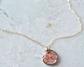 Pink Queen Annes Lace Necklace Pressed Flower Jewelry Botanical Jewelry Bridal Jewelry 14k gold fill