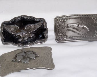 Silver Plate Belt Buckle with Acorns and Filligree