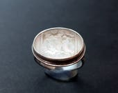 Art Deco Vintage Glass Ring Size 8 - 8.25