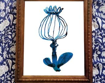 Blue Pod Wall Art Print watercolour botanical illustration