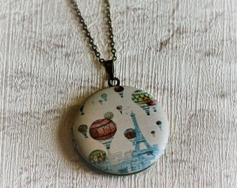 Hot Air Balloon Locket Illustration Necklace