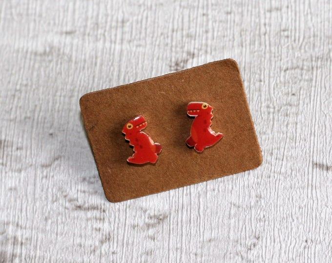 Dinosaur Earrings, Teeny Tiny Earrings, Prehistoric Jewelry, Cute Earrings