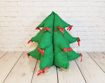 Vintage Handmade Sewn Plush Christmas Tree