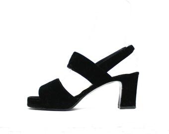 1990s Black Velvet Mules Sandals