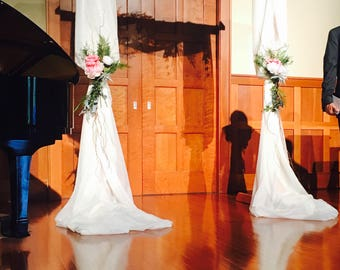 SOLD Wedding Arbor Swag Roses Curly Willow Naturals decor backdrop floral flowers