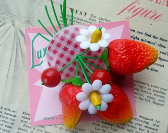 Summer Strawberry blossom! Handmade 40s 50s confetti lucite style novelty red gingham brooch and optional earrings by Luxulite