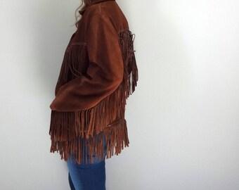 Vintage FRINGE LEATHER Jacket •1970s Outerwear •Dark Brown Suede Western Wear Mountain Man Davy Crockett • Men Size 40 Women Medium Large