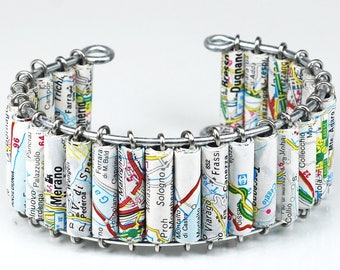 italy Map Jewelry- Upcycled Italy Road Atlas Map Cuff Bracelet, Italy Jewelry, Italian Jewelry, Travel Gift, Paper Jewelry, Italy Gift